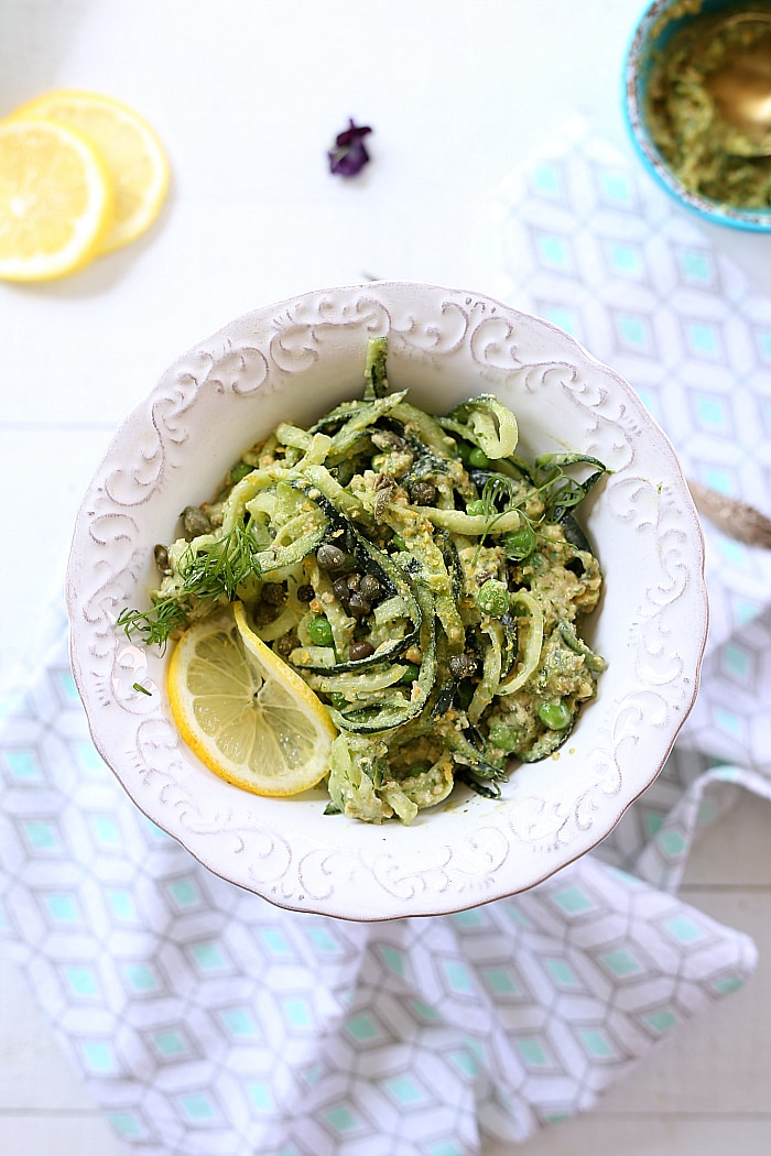 If you love cucumbers and dill you will love this healthy dill pesto cucumber noodle bowl recipe! Ready in as little as 10 minutes and so delicious you may want to make a double batch! It is vegan friendly, lighter and low carb. #cucumber #noodle #bowls #vegan #healthy #glutenfree #dill #pesto #healthy #easy #quick #maindish | Recipe at delightfulmomfood.com