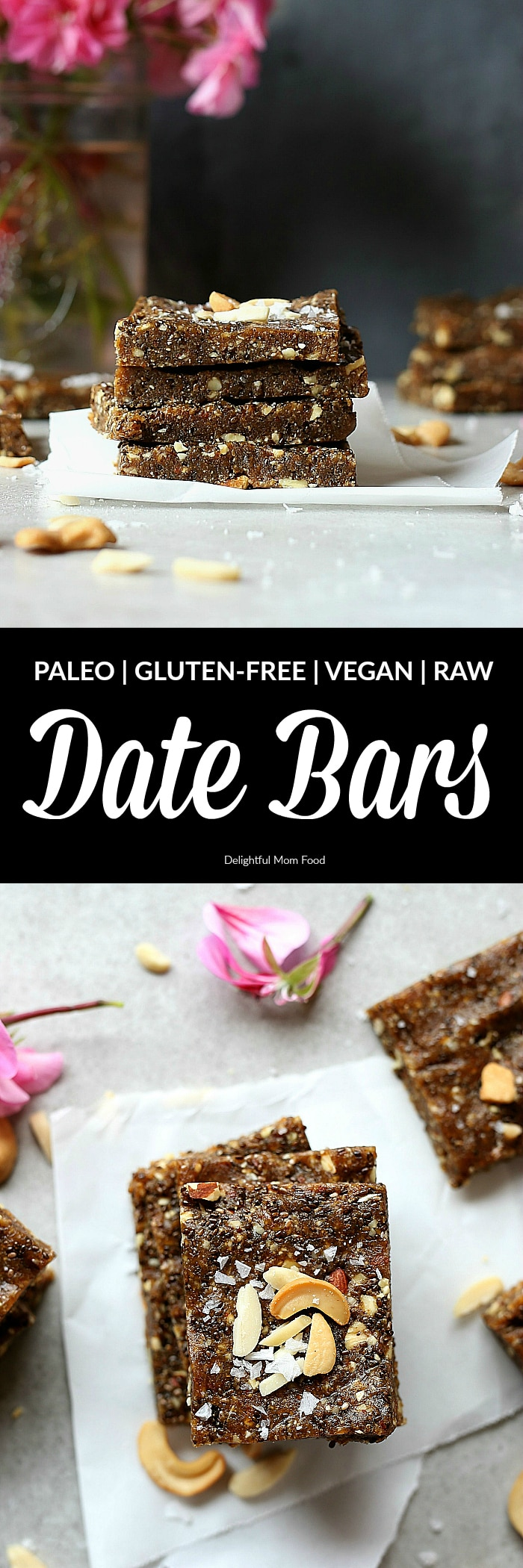 Heavenly date bars that aredeliciously good for you! A decadentraw bar rich in natural sweetness fromMedjool dates! These easy raw chia date bars take as little as 10 minutes to make! They are the chewy, soft, crunchy and make the perfect superfood energy pick-me-up after a workout or first thing in the morning! #raw #date #bars #snacks #healthy #glutenfree #grainfree #paleo #easy #homemade | Recipe at delightfulmomfood.com