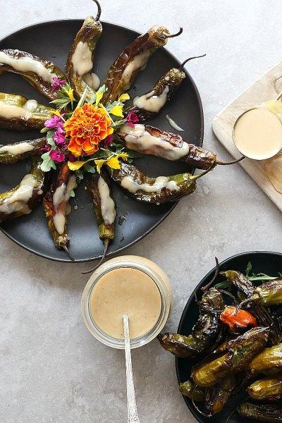 Roasted Shishito Peppers With Garlic Tahini Sauce