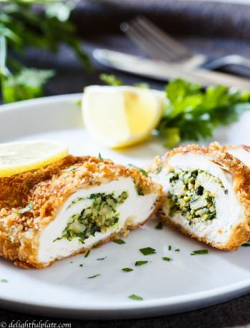 Basil spinach stuffed chicken breast is crispy on the outside, and flavorful, moist and juicy on the inside