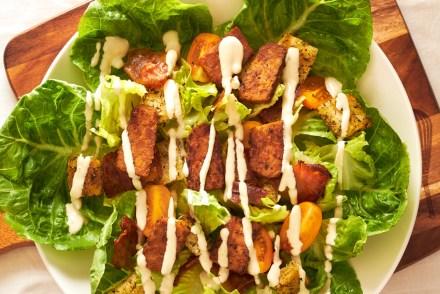 Vegan Caesar Salad with Smoky Tempeh