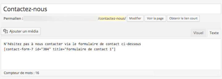 La page Contact dans le BackOffice de WordPress