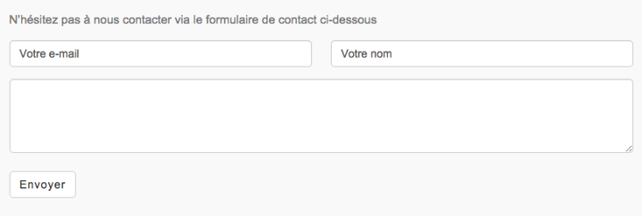 La page contact sur le site WordPress