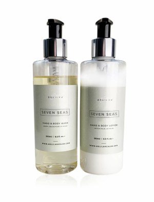 Seven Seas Hand Wash & Lotion Set by Delilah Chloe. Bergamot and Amber fragranced bath toiletries