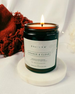 Orange & Clove Candle, Christmas scented candle, soy wax candles by Delilah Chloe