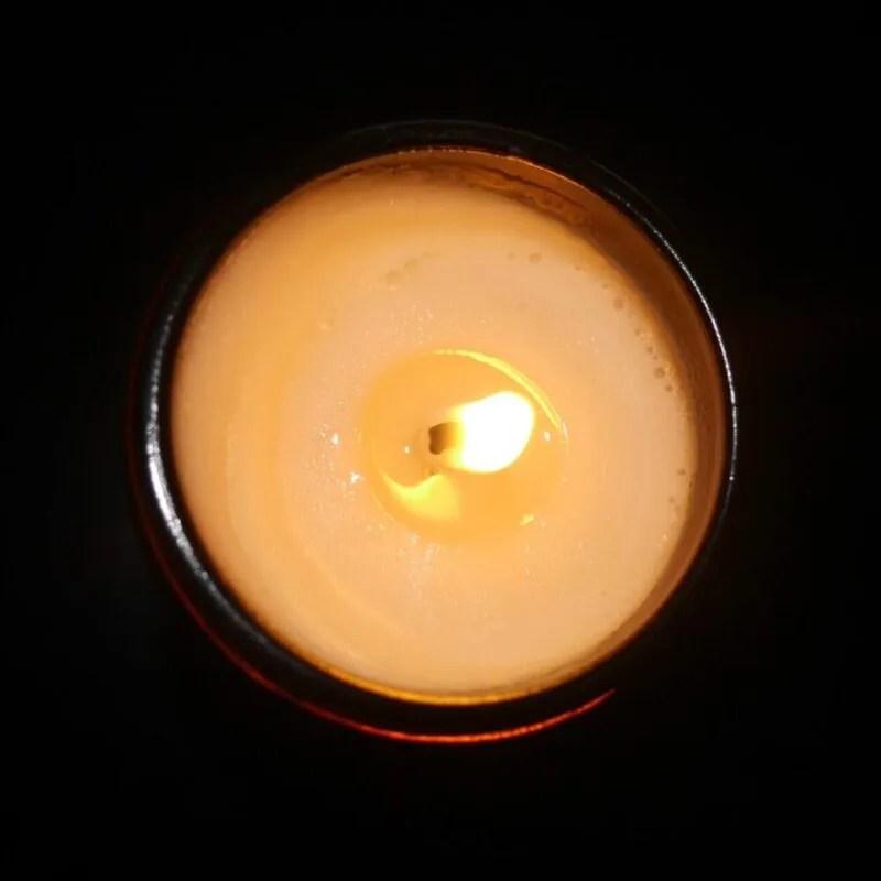 Burning Candle birds eye view