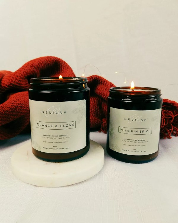 Autumn & Winter Candle Duo, Christmas Fragranced Candles, Home Fragrance by Delilah Chloe