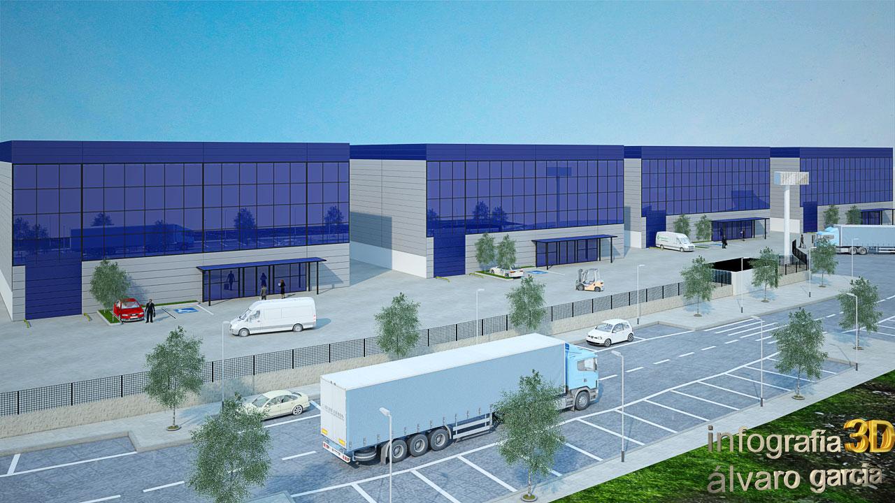 Infografía 3D nave industrial nueva construcción
