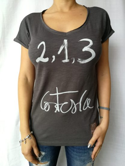 Camiseta Cortesia , manga corta, cuello pico Color antracita mujer
