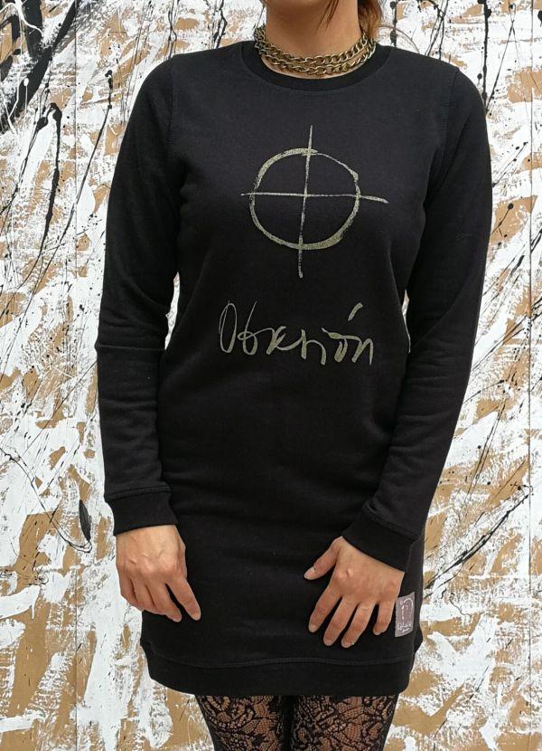 Vestido obseión color negro-oro mujer-delantera
