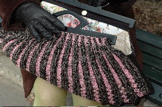 Pink Black Knitting Bag