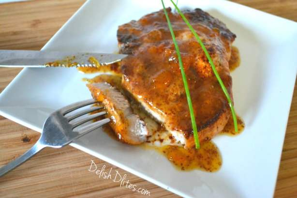 Peach and Mustard Glazed Pork Chops | Delish D'Lites