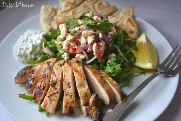 Deconstructed Grilled Chicken Gyro Salad | Delish D'Lites