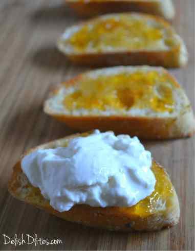 Apricot, Burrata & Proscuitto Crostini | Delish D'Lites