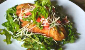 Chicken Milanese with Bruschetta & Arugula