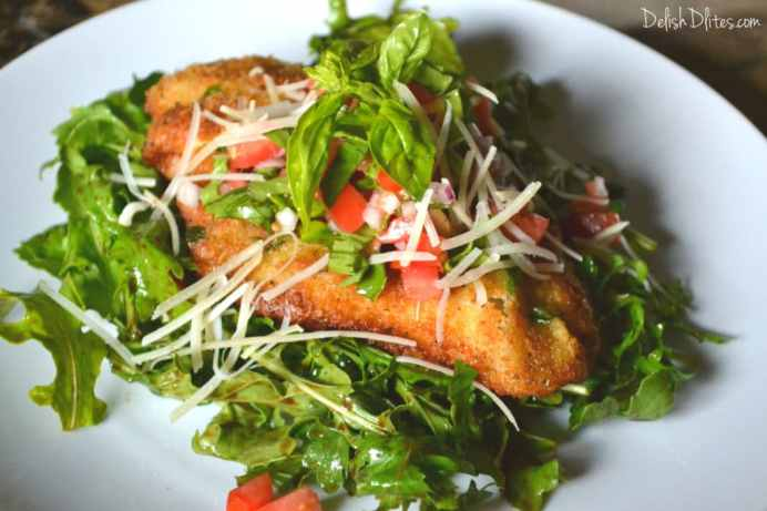 Chicken Milanese with Bruschetta & Arugula | Delish D'Lites