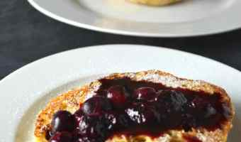 English Muffin French Toast with Blueberry Compote