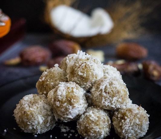 coconut date balls in black plate