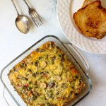 Mushroom Sausage Egg Bake is a super easy breakfast / brunch recipe. Also known as Egg casserole, this quick to make baked dish is made without any bread and is gluten free!