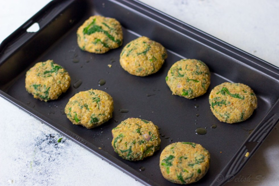 Bake the quinoa patties on a baking tray in an over