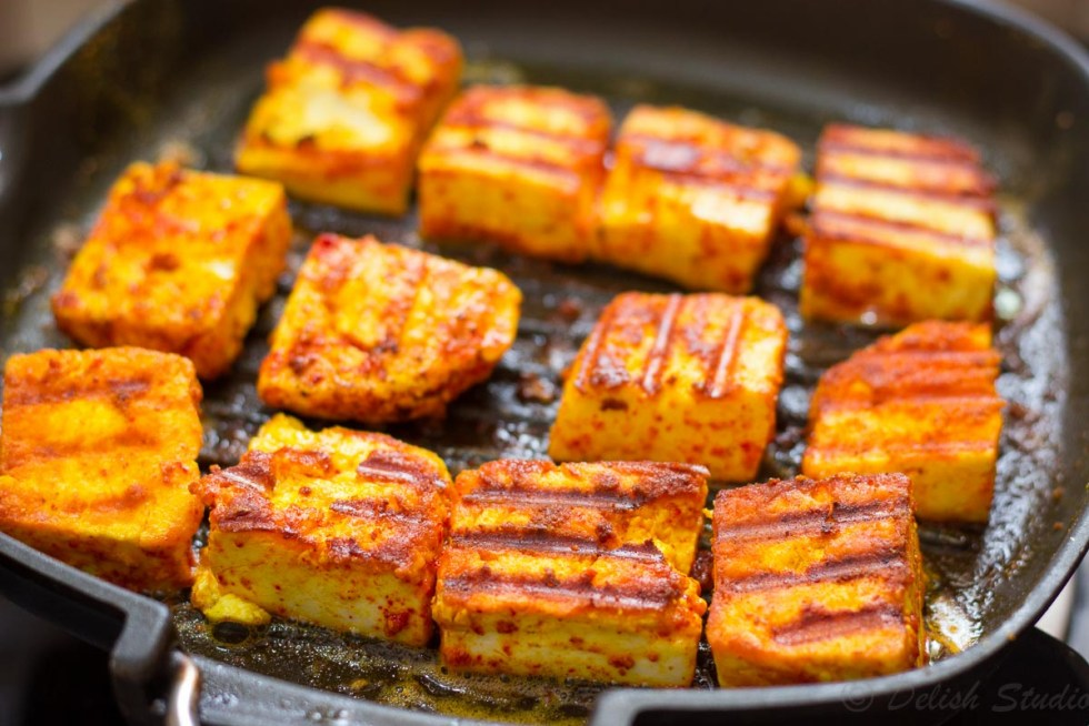 Grilled paneer pieces for making keto paneer makhani (low carb) recipe.