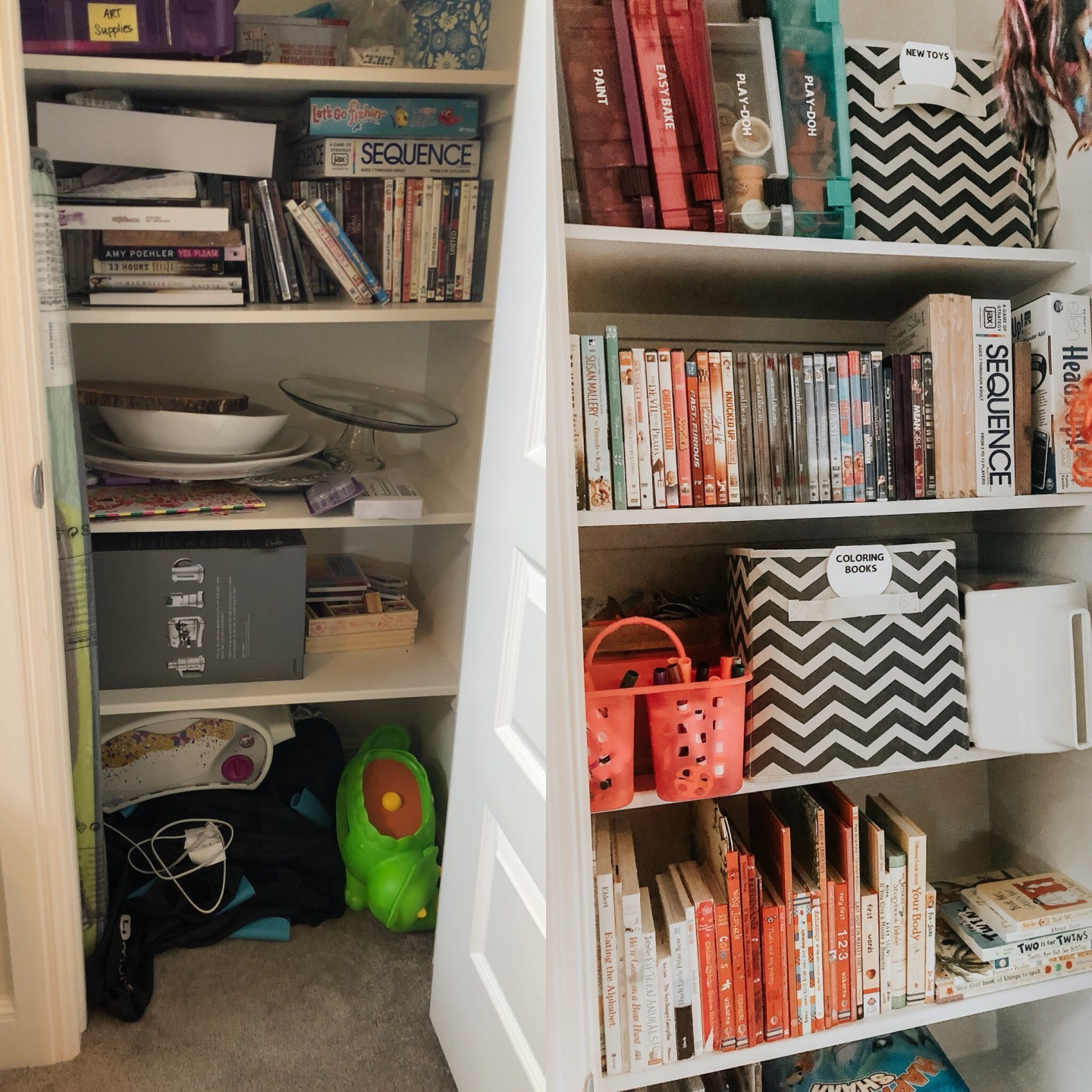playroom organization tips, game room organization tips play room decor, before and after