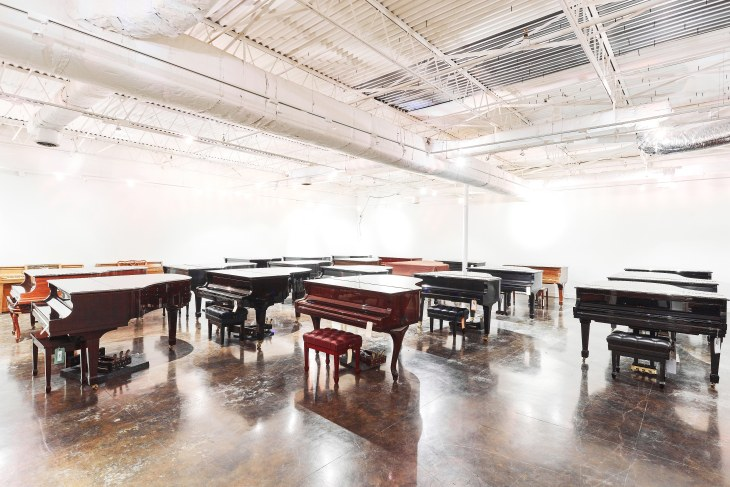 Climate controlled piano storage at Delivery Limited's warehouse in Dallas, Texas