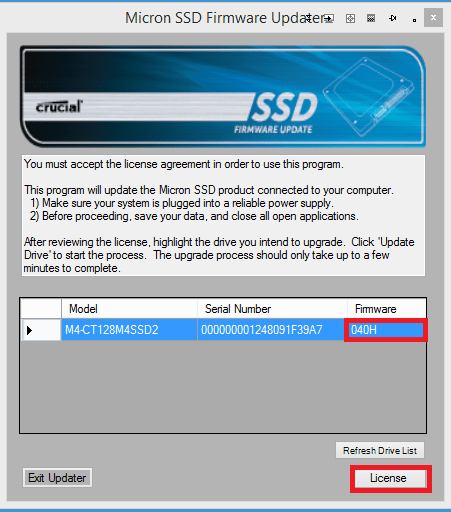 Updating the Firmware of a Solid State Drive or Hard Drive