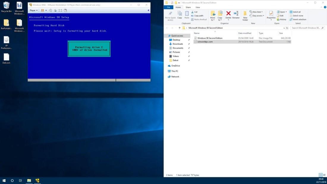 Installation of Windows 98SE using VMware Player - Windows