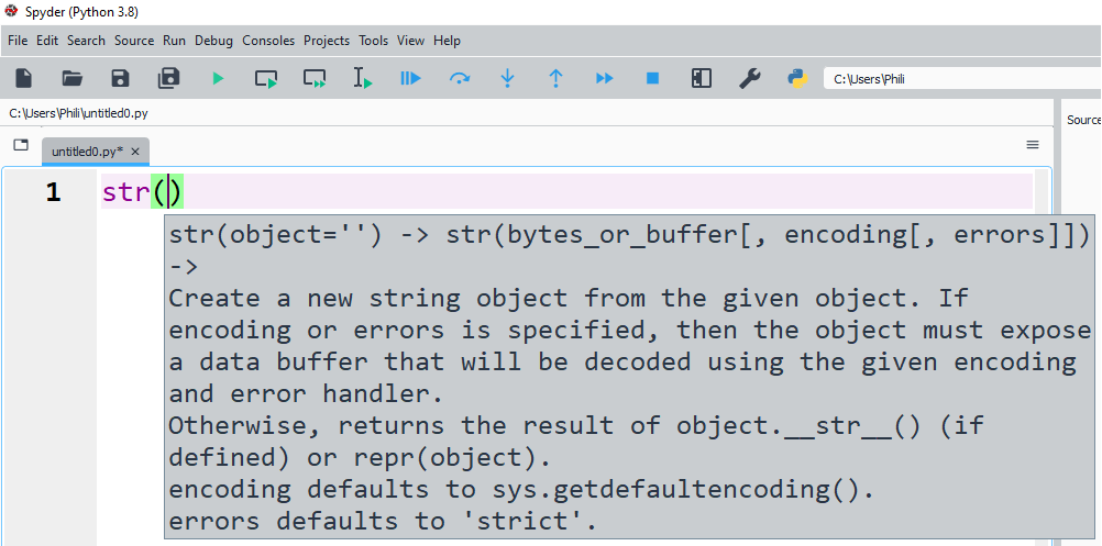 The Python docstring of the str class.
