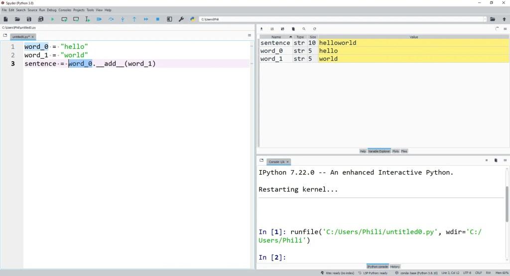 Explicitly using the str datamodel method __add__