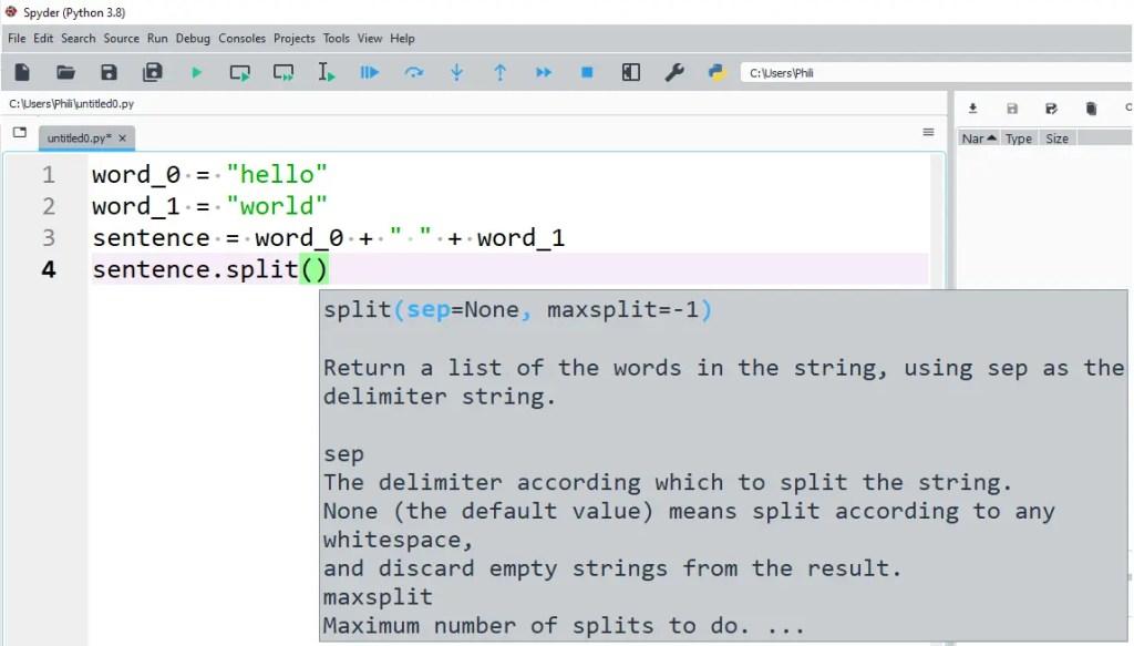 The str method split will split the str into a list.