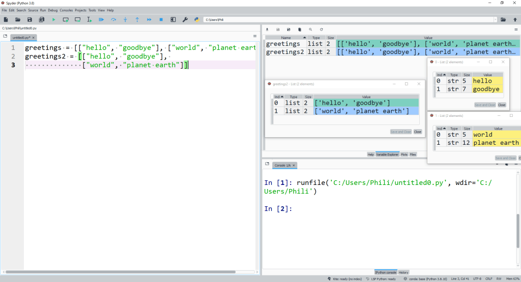 We can enclose an element in a list by [ ] to create a nested list directly.