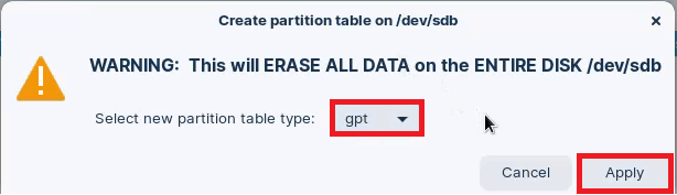 Create a blank GPT table on your USB using GParted.