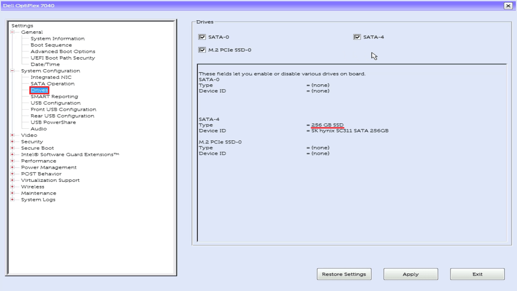 Dell UEFI BIOS Setup Drives. Check if you have a 250 GB or greater SSD.