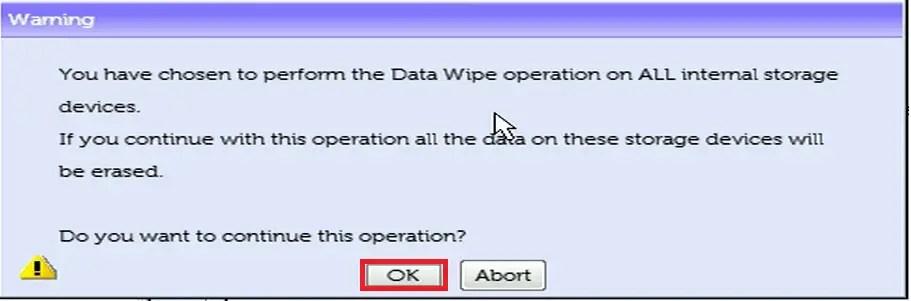 Dell UEFI BIOS Setup Dell Data Wipe Warning 1.