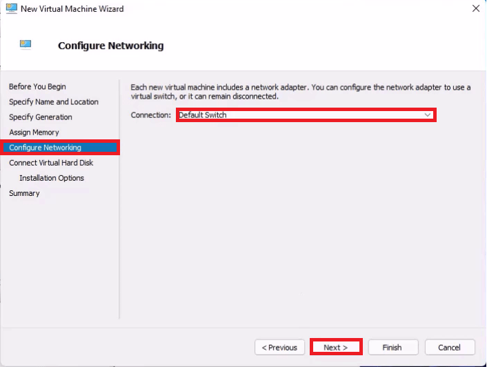 Hyper V New Virtual Machine Wizard Configure Network using the Default Switch.