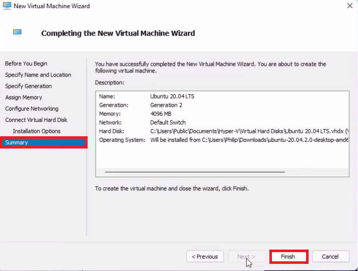 Hyper V New Virtual Machine Wizard Finish.
