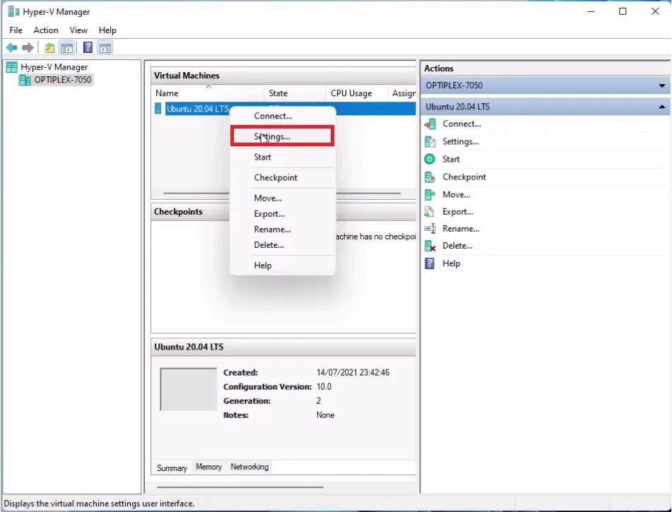 Ubuntu 20.04 LTS Hyper-V Virtual Machine Settings.