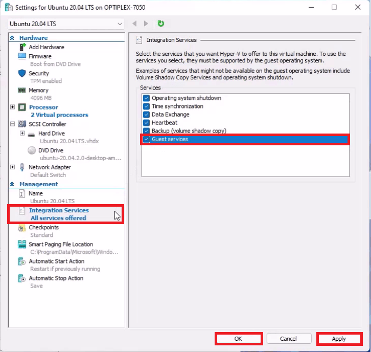 Hyper-V Virtual Machine Integration Services Settings. Enable Guest Services.