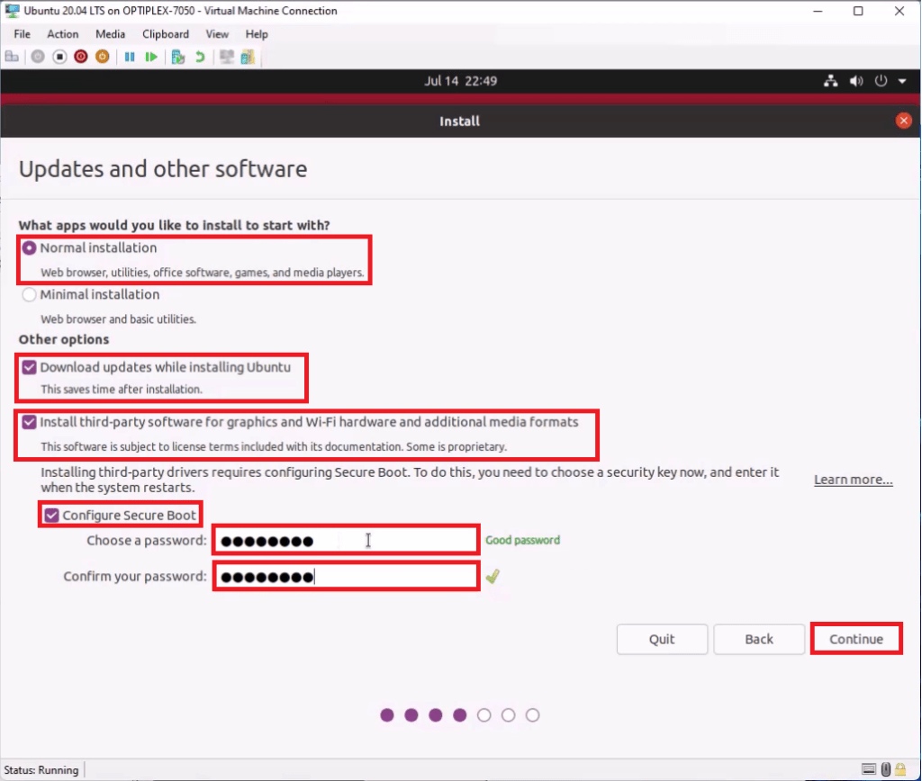 Ubuntu Updates and Other Software. Normal Installation with Updates, third party drivers, multimedia codecs and a Machine Owner Key to Configure Secure Boot.