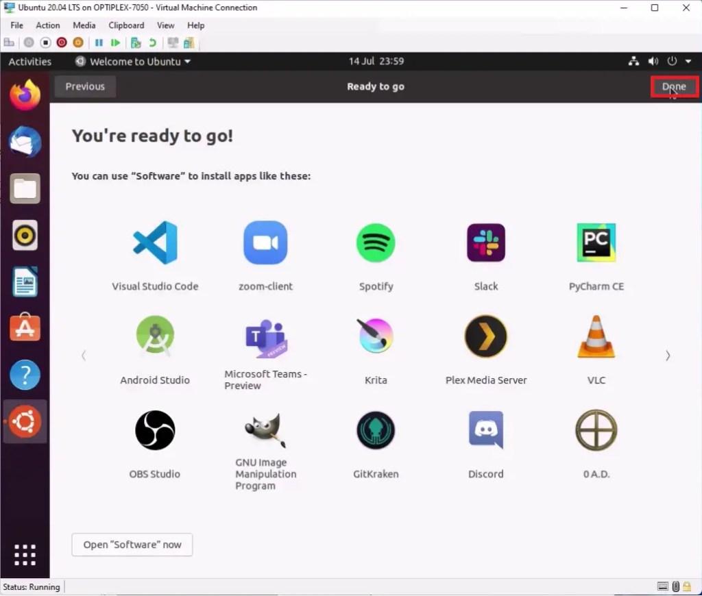 Ubuntu welcome setup screen, Software (Store).