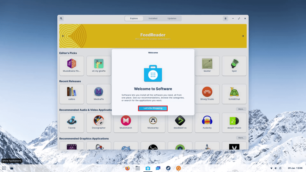 Zorin OS Welcome Tour 13 Software Store.