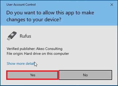 Windows 10 User Account Control Prompt for Rufus