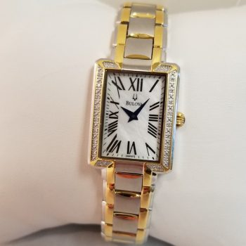 Bulova Rectangular Diamond Mother of Pearl Ladies