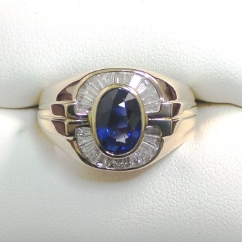 18k Yellow Gold Men's Diamond and Sapphire Ring