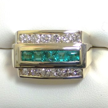 Men's 18k Yellow Gold Diamond and Emerald Ring