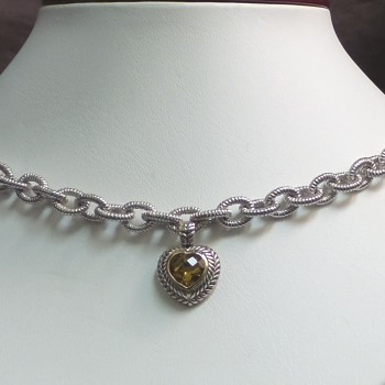 Sterling Silver Fashion Necklace with Amber Heart
