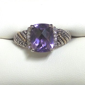 Purple Swarovski Crystal Set in a Sterling Silver Setting Accented by White Crystals