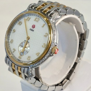 Michele Stainless Steel and Gold Watch with Diamond Accents